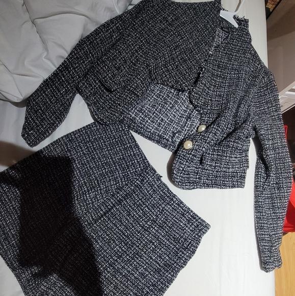 Blazer crop top and skirt set